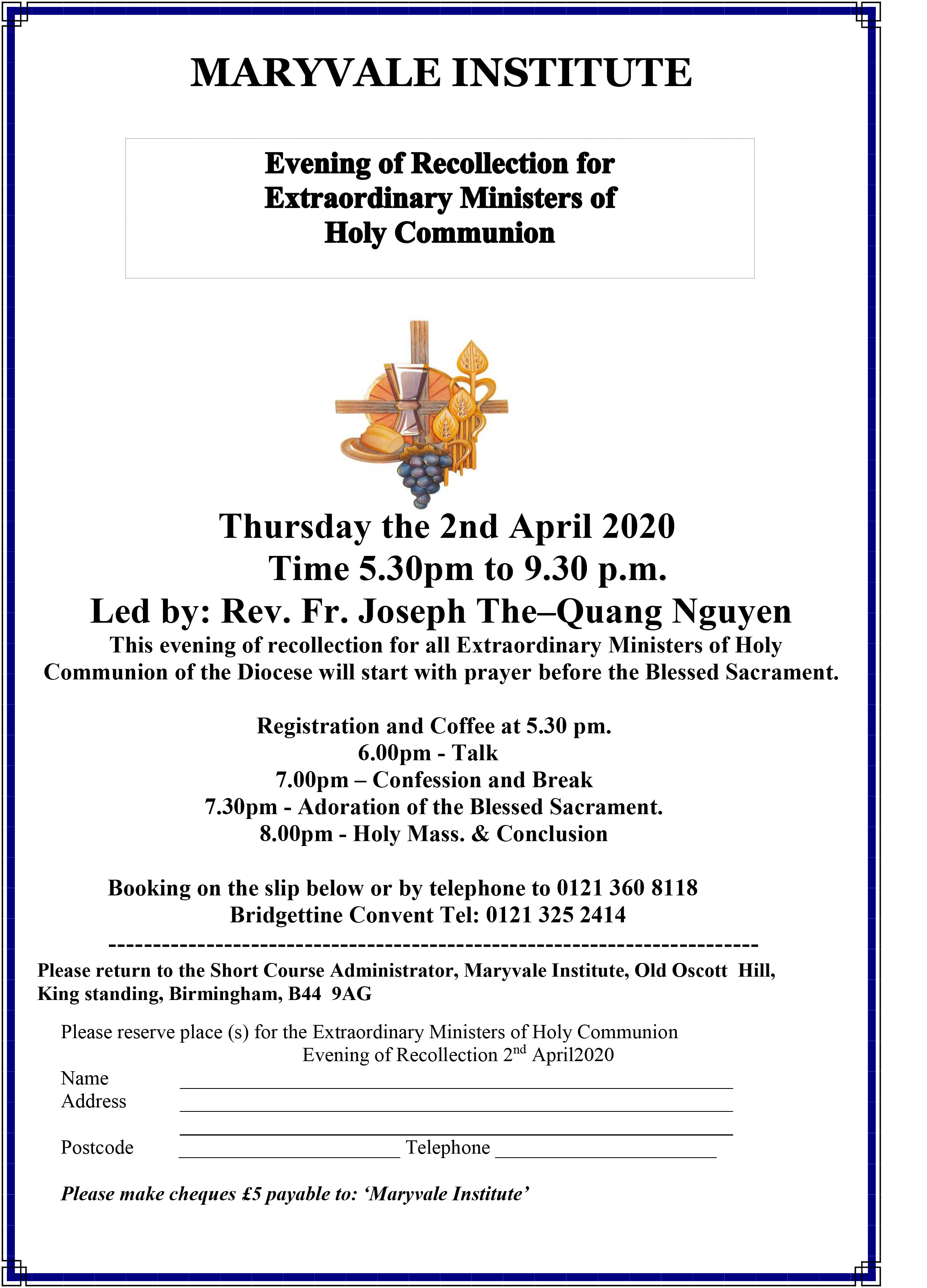 Evening of Recollection 2020 Flyer