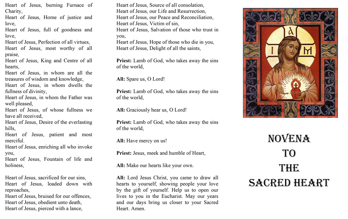 Sacred Heart Novena leaflet download