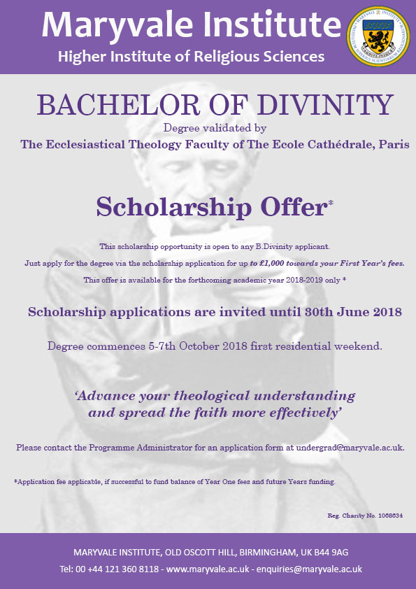 Maryvale Institute Bdiv Scholarship 2018 2019